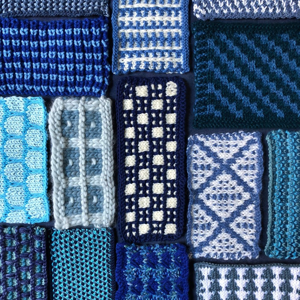 Knitted swatches from Chapter 4:  Color-Change Patterns. Photo by Rochelle Voyles