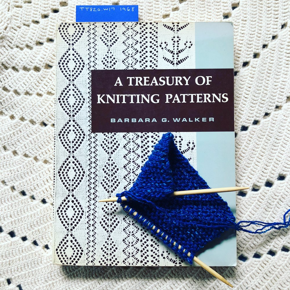 One of our copies of Barbara Walker's  A Treasury of Knitting Patterns , a first edition, ©1968
