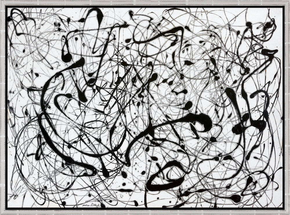 "Number 14 ""Gray"" by Jackson Pollock, print hanging in office"