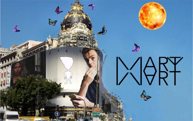 Billboard, butterflies, sun