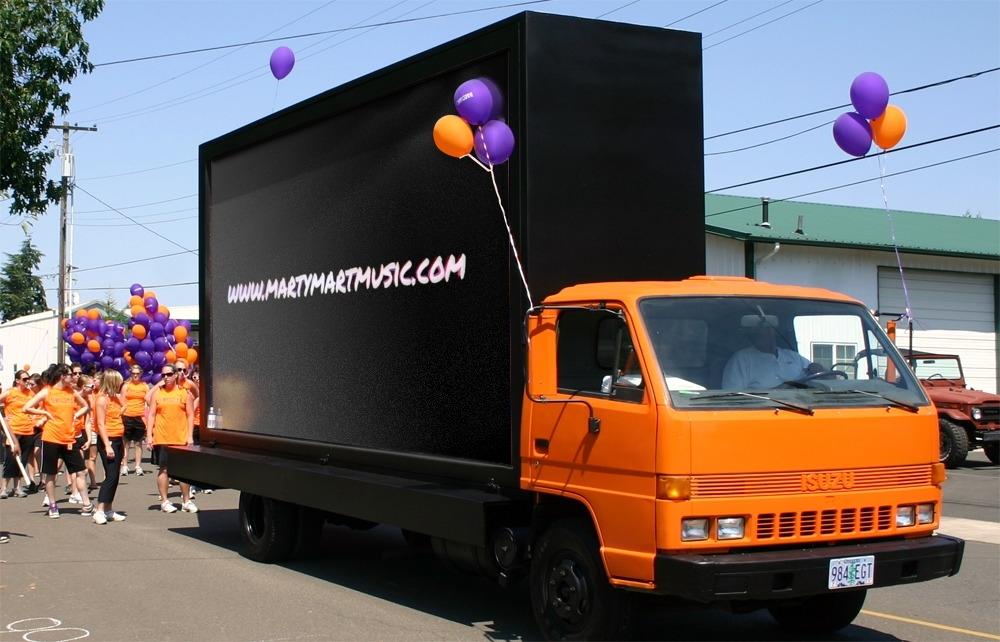 Truck, advertisement,balloons