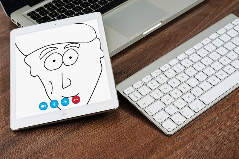 table, I-pad, cartoon