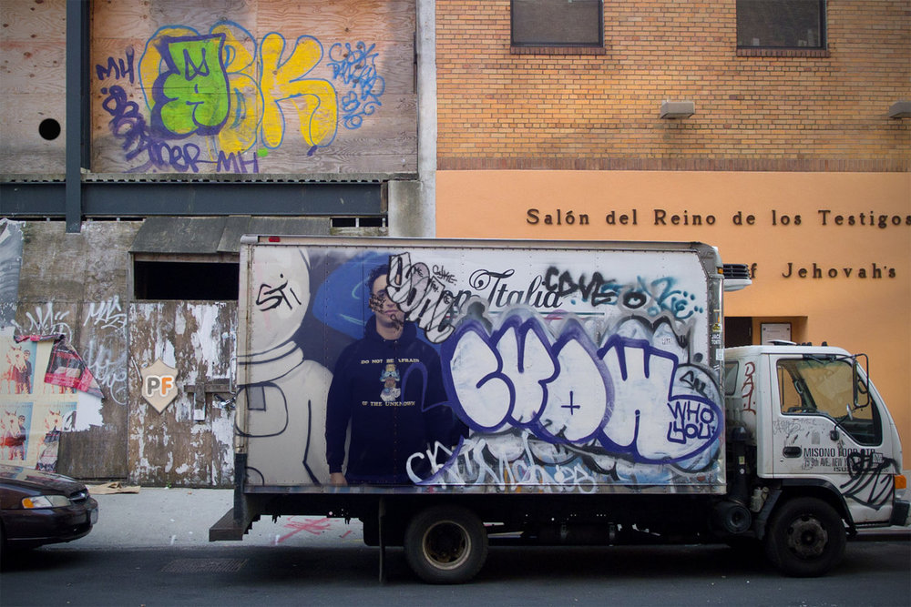 Truck, boy posing, Boston