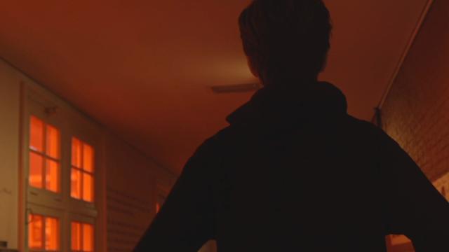 red, corridor, boy