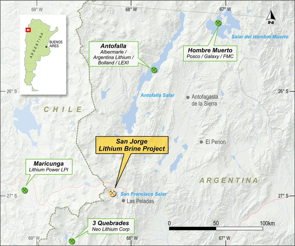 """Catamarca, Argentina - The project lies in the southern end of the """"Lithium Triangle"""" in the Puna Plateau. The area is characterized by high altitude salt flats, many of which contain elevated lithium concentrations."""