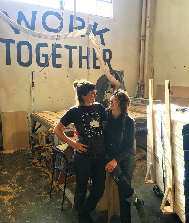 Just two boos that love working together. ∆ ∆ ∆ ∆ #makersgonnamake #woodworking #ladymakers #pdx #digifablife #cnc #maokemade #maoke