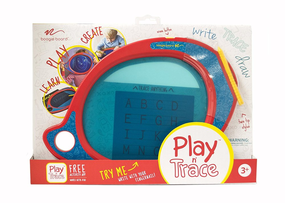 boogie board play & trace lcd ewriter - This is a current favorite in our house! The Boogie Board Play n' Trace takes doodling to a whole new level with its translucent LCD writing surface.  Addie writes using a stylus and then when you press the button it erases.  It is easy to hold and is a toy that will grow with her.  There are accessories to help your child learn how to write.  Because its translucent, you put the image/letter/number underneath your child can write on top.  It also has a Play N Trace app that basically does the same thing.  This toy is good for a 18 month old to 6 years old.