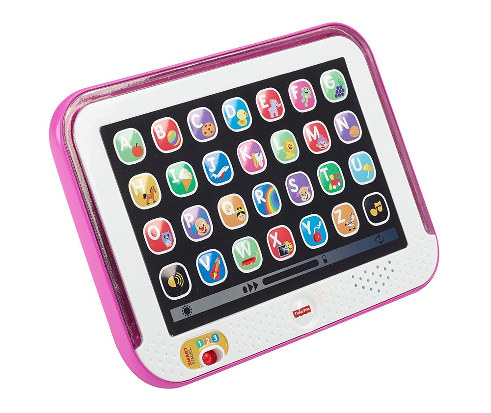 fisher price laugh & learn smart stages tablet - This is on Addie's wishlist this year and for less than $20 you can not go wrong.  I like that it has skills based on age and for 12 months + it has sounds, phrases, songs, vocabulary, 18 months + babies are asked to find letters, pictures, and there are reinforcements sounds/songs and then 24 months + encourages your toddler to do something such as.