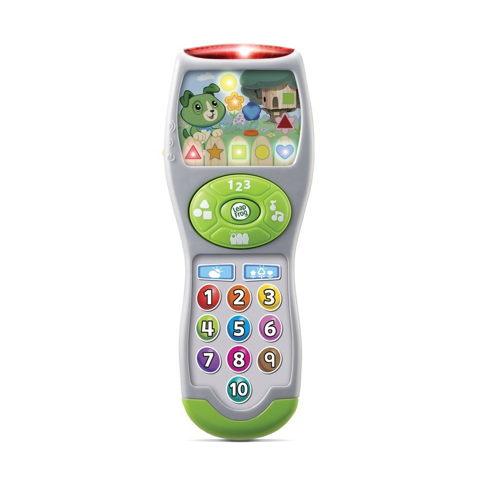 leapfrog scouts learning lights remote - Just like the keys, kids love remotes.  We cannot even find most of ours because god only knows what she has done with them! This pretend-play remote that introduces numbers, shapes and first words! Bright colors and 10+ lights encourage babies and toddlers to explore.  It is designed so babies and toddlers can imitate what they see their parents doing. Through this imitative play, the toy introduces early concepts around numbers and shapes as children exercise their fine motor skills.  This toy is intended for toddlers 6 months to 3 years old.