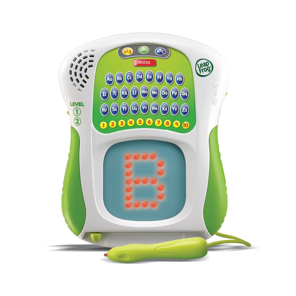 leapfrog scribble and write  - This is on our wishlist and is the perfect toy for new writers.  When I taught kindergarten I loved this toy!!  The letters light up and you trace the lights to learn how to write.   It gives you feedback about the accuracy of the letter formation and this toy is good for 3+.