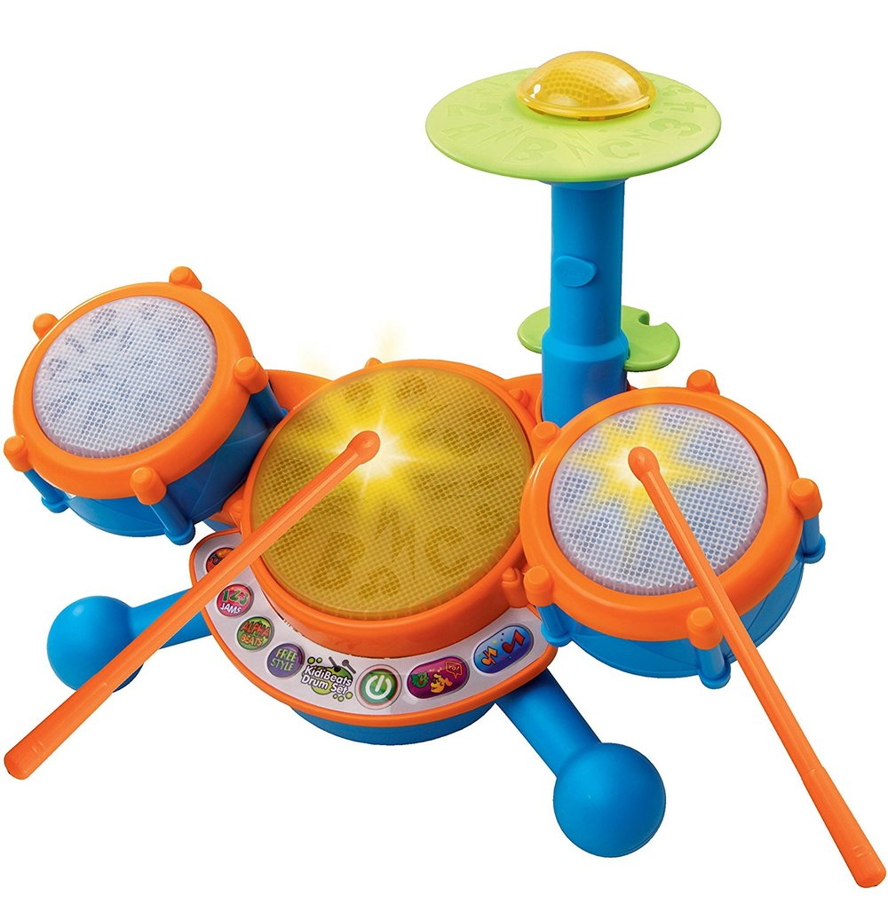 vtech kidibeats kids drum - This toy is on Addie's wishlist this year and I may kill myself for adding this to her list.  That being said, this toy is awesome for a budding musician. It has three drum pads and cymbal.  There are s 4 modes of play: free play, letters, numbers, and follow-along.  Toddlers can play along to 9 melodies in styles including rock, dance and pop; music toy teaches letters, numbers, and music.Drums are intended for toddlers aged 2 to 5 years old;