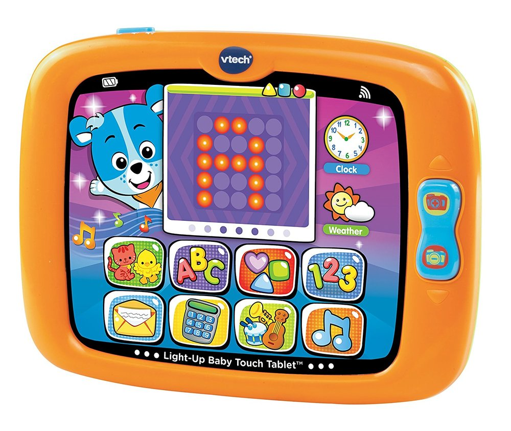 vtech light- up baby touch tablet - This is on Addie's list this year as a mimics a tablet; opens up pretend email and checks the weather, has pretend apps, and you can swipe back and forth between screens.  I like that it teaches  letters, numbers, shapes and more. Baby tablet is intended for toddlers 9 to 36 months old.