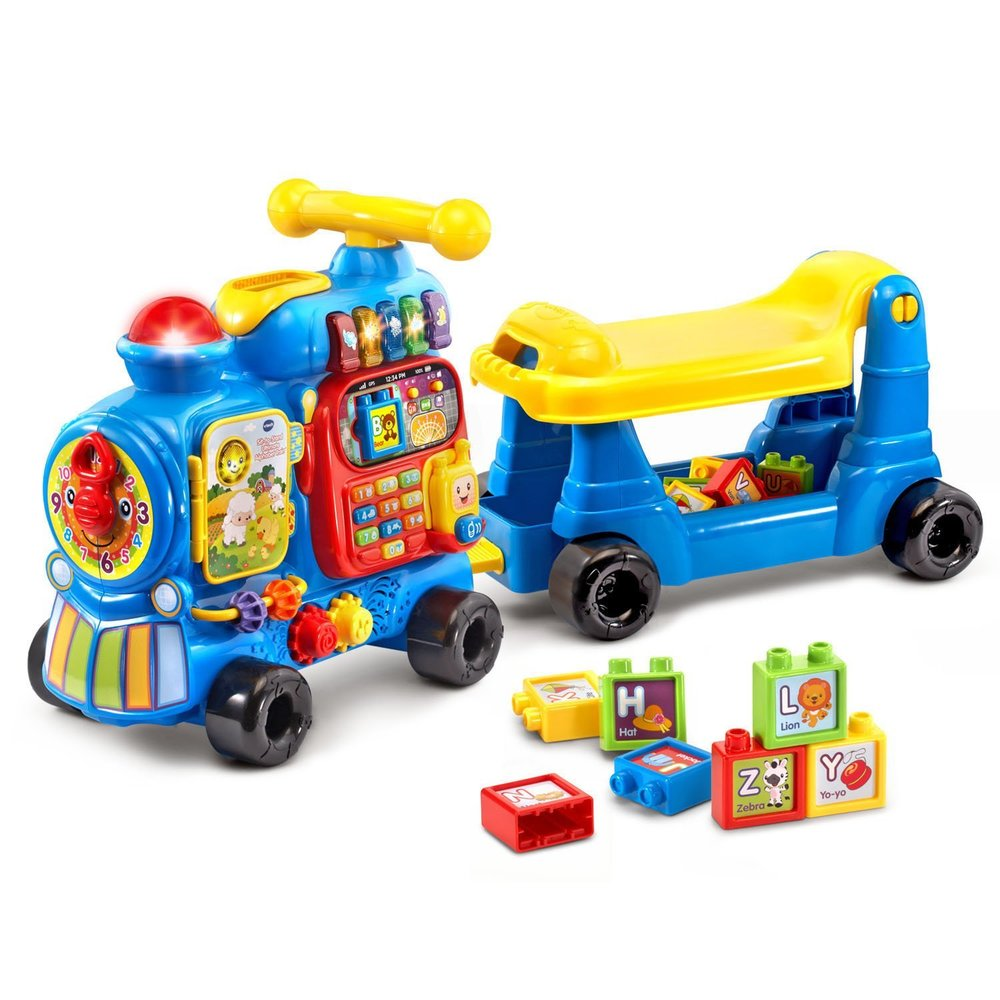 vtech sit to stand ultimate alphabet train - Addie loves this toy and plays with it while she is at PT.  For some toys, if she likes them at therapy I do not buy them for her at home so they can be more motivating for her when she is there.  This toy starts as a floor toy, then a ride on, a baby walker, and finally a pull wagon that can be filled with toys. I also like that the side of the train has a storybook, clock, gears, alphabet blocks, and number pad.  This toy is good for 1- 3 years old.