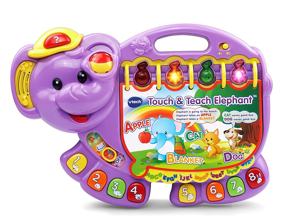 vtech touch and teach purple elephant - Addie has had this since she was one and basically it's an interactive story book that teaches concepts such as letters, shapes, numbers, colors, and more.  For your baby, a roller ball that responds with sound effects and grows with your toddler and  has a question button that tests your child's comprehension skills. This toy is good for 1-3 years old.