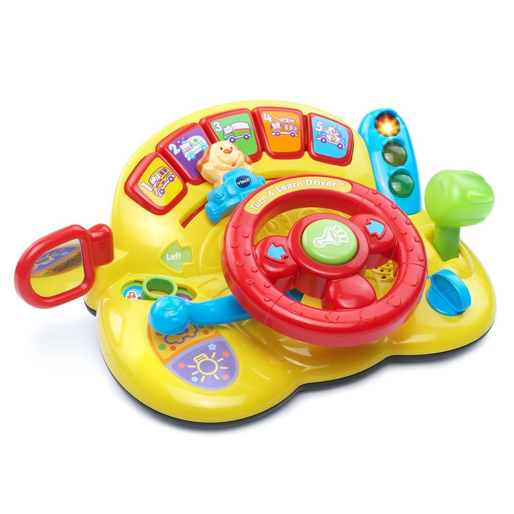 vtech turn and learn driver - Addie loved this toy at speech therapy and loves pretending to drive using the steering wheel toy. The fun baby car toy design encourages imaginative play with a traffic light, a signal lever ; gear shifter that pushes and pulls.Press the five colorful buttons on the learning toy and your child will be introduced to different animals and vehicles. Makes a great baby gift for a 6 month to 2 year old