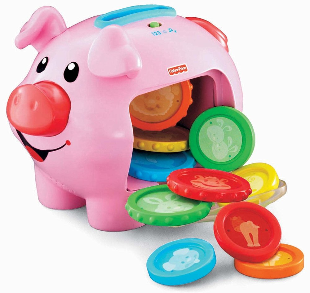 piggy bank - This is a great cause and effect toy and is so affordable! All kids love this toy and so many concepts can be taught; in/out, open/closed, colors, animals, animal sounds, counting. requesting more/alldone, and turning the music on/off/. This toys provide the opportunity for hand-eye coordination, sensory exploration and repetitive sequences.
