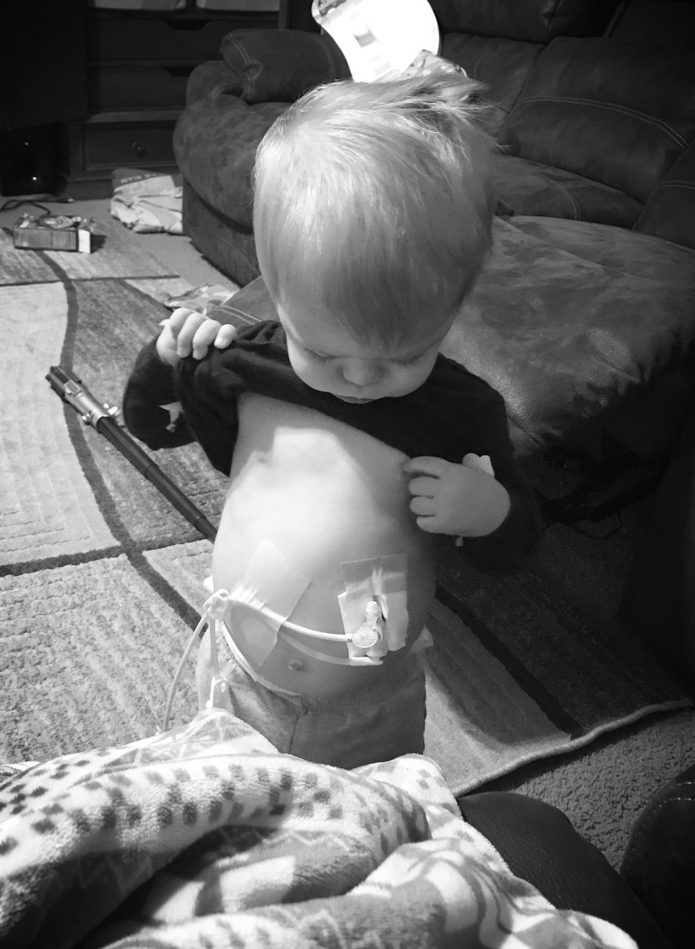 Tube feeding is Hard! 24 Hour feeds, no breaks, hooked to a backback or a pole. Telling your child they can't share your food sucks. The day to day struggles get easier and become a routine and they aren't quite as hard. It gets better. - Jennifer Porter