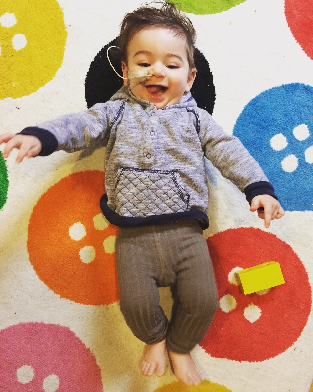 The hardest part has been letting go of what i thought ny infant would be like. The more i let go of that idea in my mind, the more i'm able to appreciate my little baby for who he is- a sweet smiley curious baby boy, who just happens to be tube fed! - Chava Bolotin