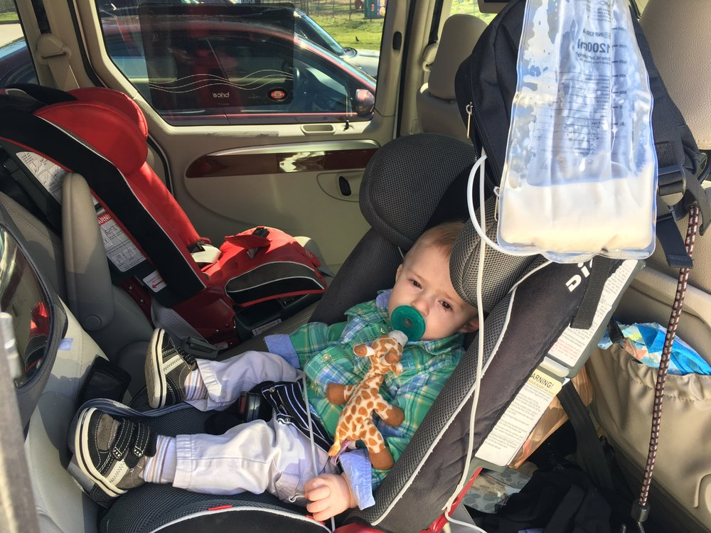 When you have a tubie child, you learn to get creative. In the beginning I wasn't sure how I would feed him when we were out on the go. Then I learned his pump worked great in the van, Don't stop taking your tubie places, enjoy life with them! - Karrie-Sue