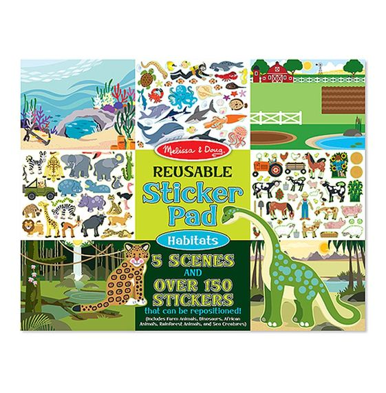 Melissa & Doug Reusable Sticker Pad $5 - There are five scenes or habitats with matching animals that can be reused over and over again and played with a variety of ways.
