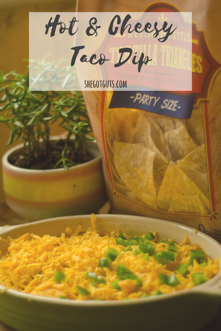hot & cheesy taco dip - 10 minute appetizer - shegotguts.com.png