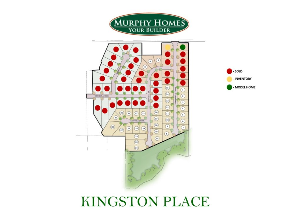 This Plot Map Rendering of the community shows the available home sites within Kingston Place. The home sites in the pale yellow zone are part of the 5th phase of the community. The home sites that are available IMMEDIATELY are the home sites available in the 4th phase- pale red zone.