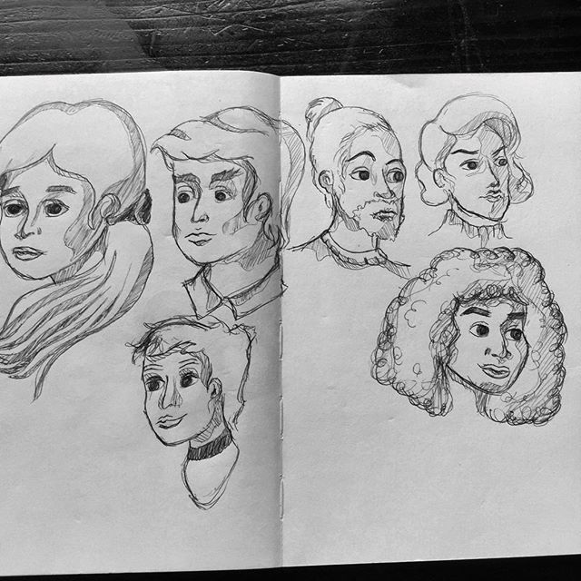 Drew a bunch of head studies. Male, female, androgynous, queer #ink #art #illustration #sketch