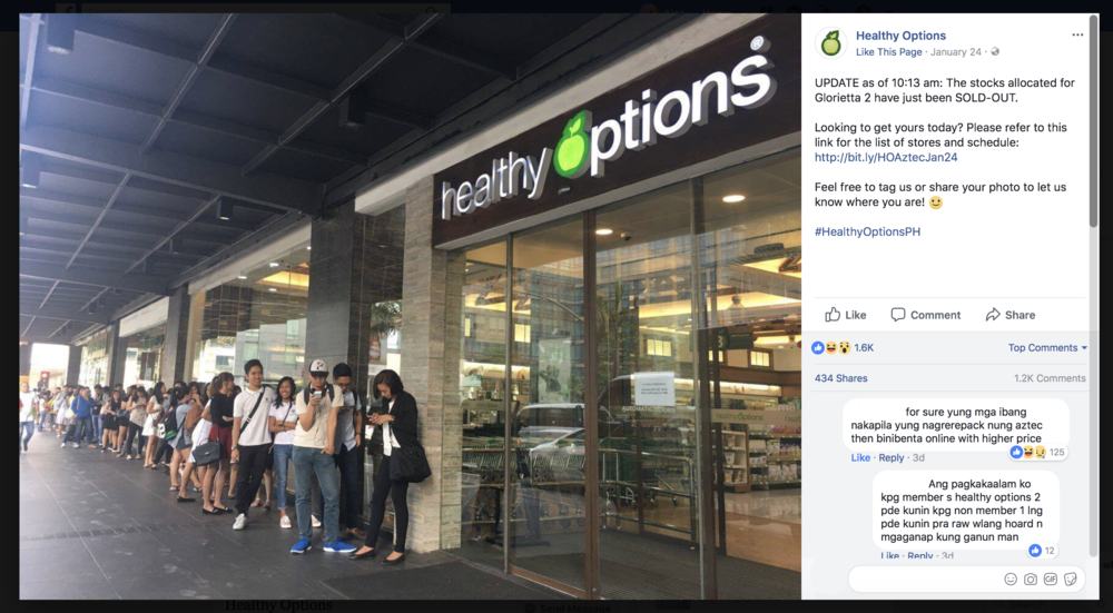 Why are there lots of people lining up at Healthy Options Glorietta? They wanna get their own Aztec Secret Indian Healing Clay! Looks like it sold out fast though. Wonder why they only sold the Aztec like crazy now?