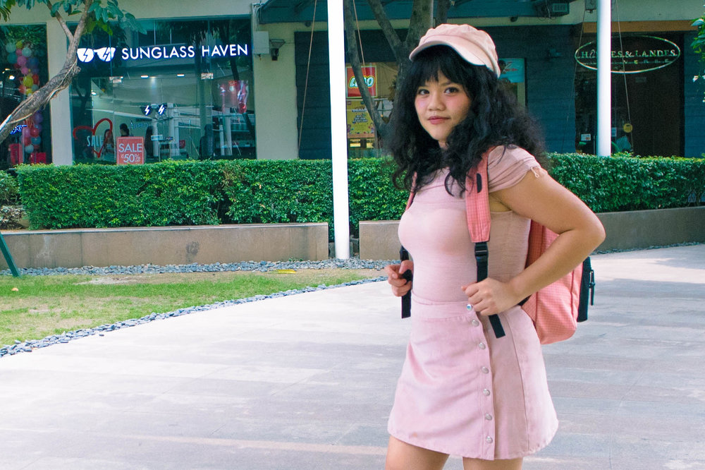 H&M pastel pink pageboy cap, ZARA off-shoulder top, H&M velvet skirt, GEOX white leather sneakers, and my ever trusted Herschel Settlement Mid-Volume Backpack in Strawberry Ice, birthday ootd, birthday outfit