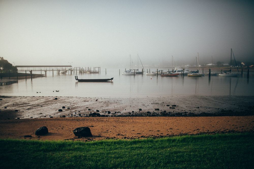We woke up Monday morning, to find Waitangi cloaked in mist. Pretty stunning.