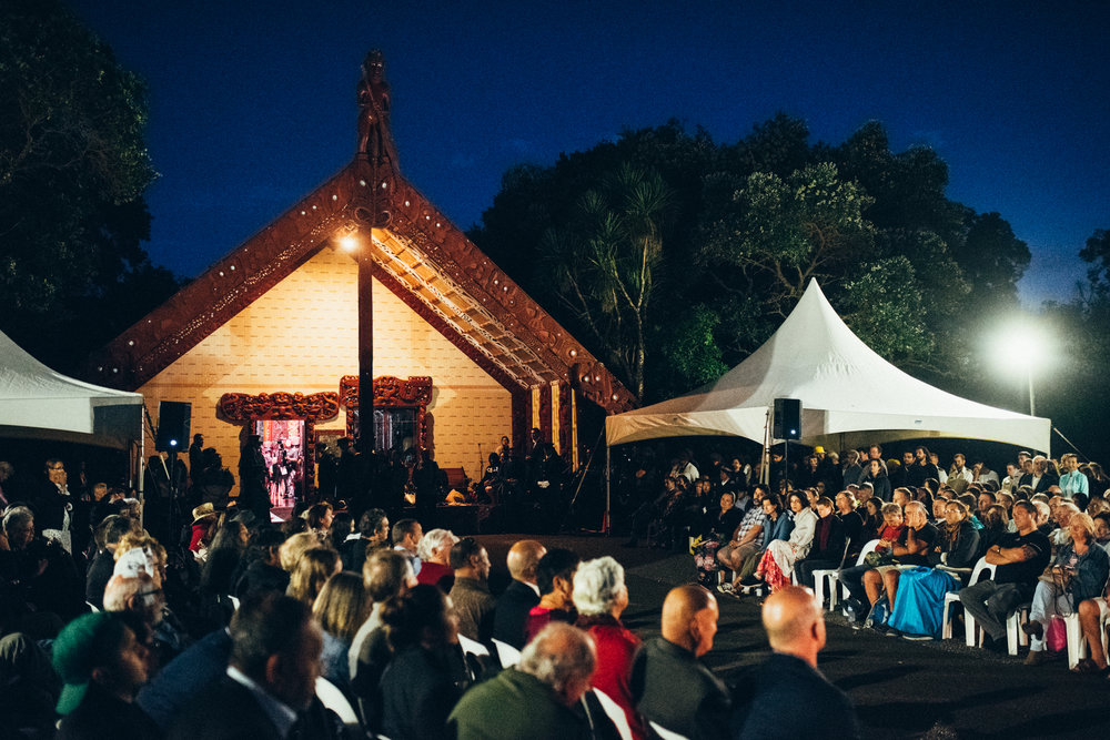 The upper marae was packed out for the service.