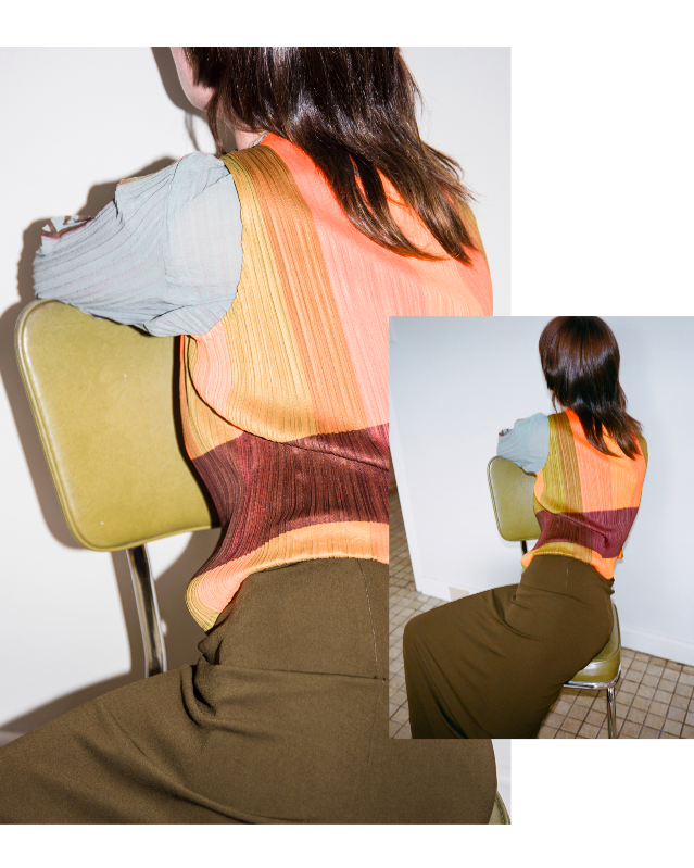 Gemma wears - JPG Olive Green Skirt ~ Issey Miyake Block Colour Singlet ~ Pleated Mona Lisa Longsleeve