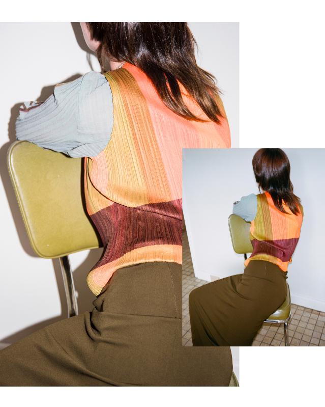 Gemma wears - JPG Olive Green Skirt ~ Issey Miyake Block Colour Singlet ~ Pleated Mona Lisa Longsleeve