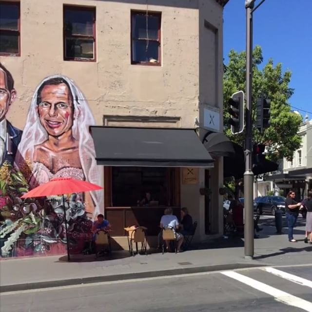 """Yes! The vote is in!  Check our collaboration with @scottie.marsh @eyejackapp @codeoncanvas and @arrbeesound . The """"Tony loves Tony"""" artwork is located on the corner of Pitt and Redfern st, view using The EyeJack app! #yes #yass #equality #loveislove"""