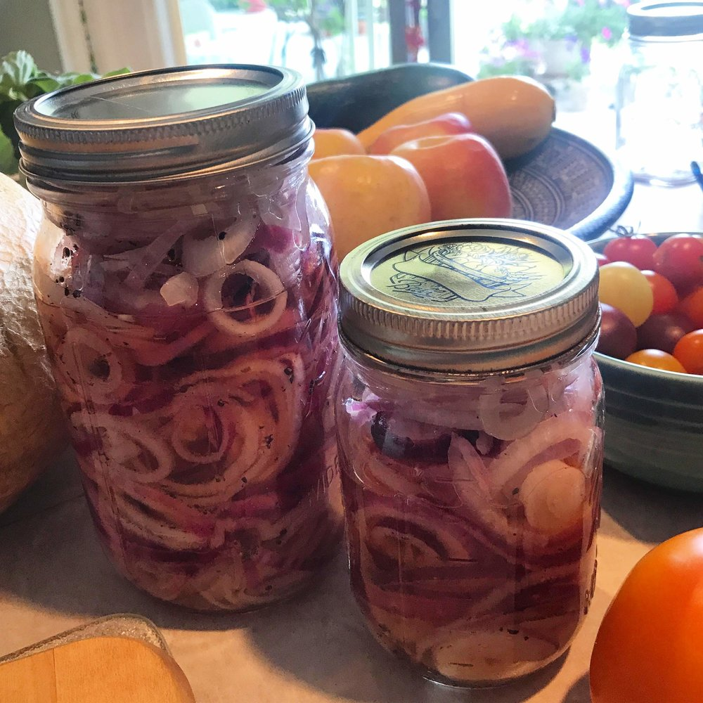 Katie's pickled onions... they go well with everything!