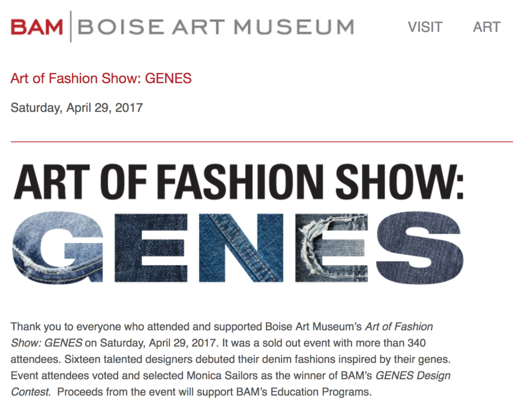 Art OF Fashion Show: GENES  - Boise Art Museum • April 2016