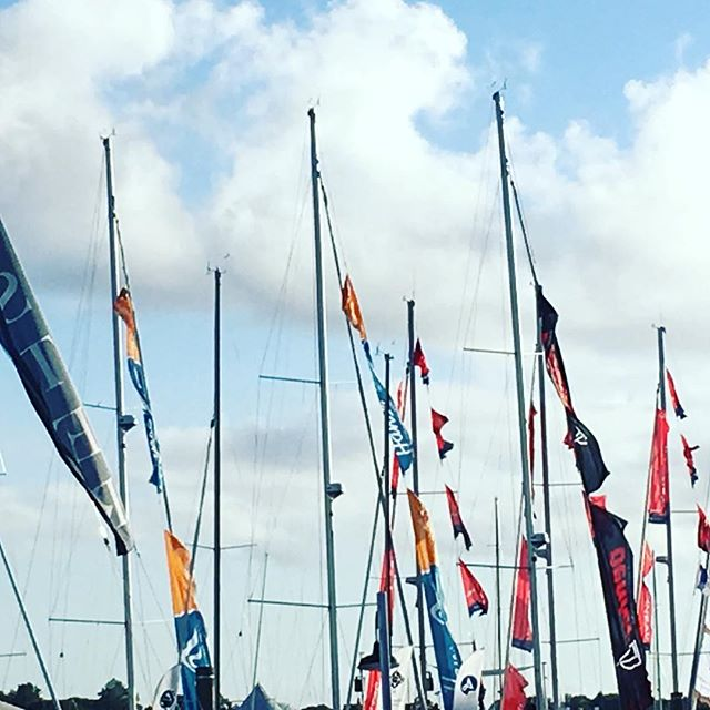 Masts with banners billowing in the wind, Saturday at the #Newport #WoodenBoatShow #RI #boat #goodness @sailorinastrangeland