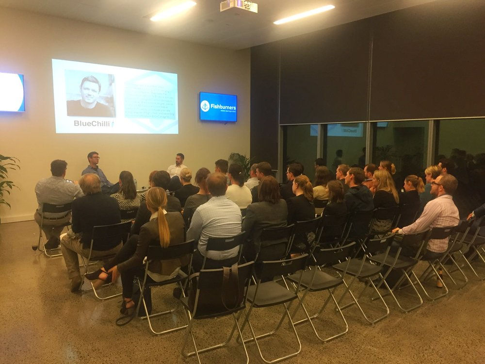 A sold out crowd listening to Brett recount the steps of his journey. From the low points of sleeping in San Francisco homeless shelters to becoming one of Australia's most successful Entrepreneurs.