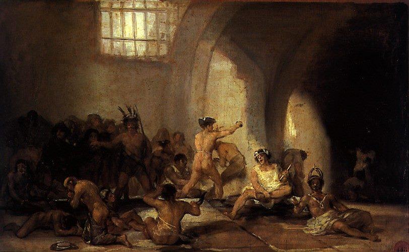 La casa dei matti (Casa de locos) o Il manicomio (Manicomio),tavola ad olio di Francisco de Goya