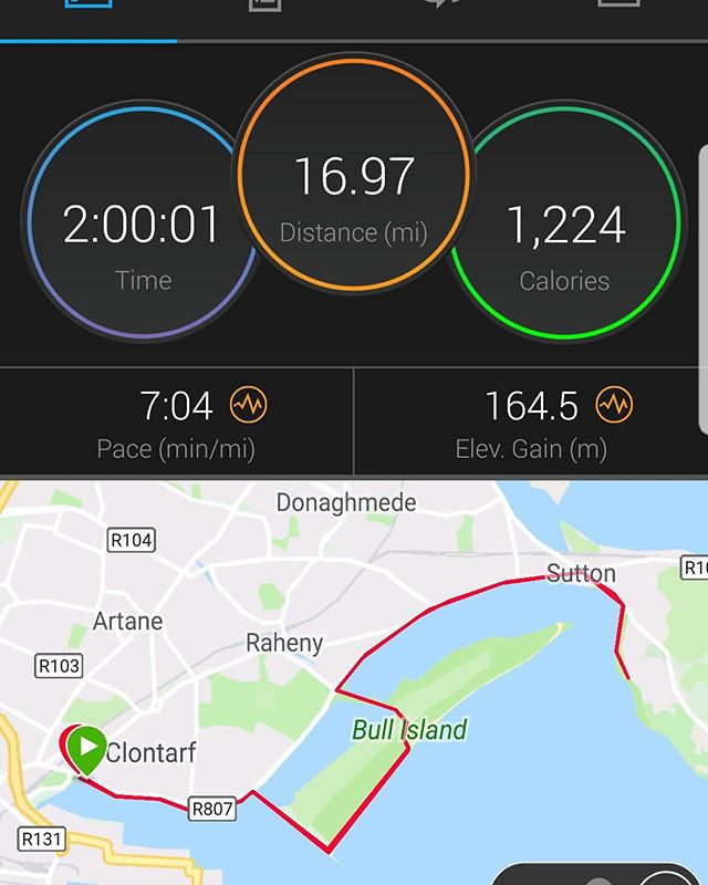 Here's how our Brendan got on last weekend on his long run.  Would normally aim for 7.30 pace for a 2 hour run but felt good so decided to stay around 7.05.  6.50 is marathon pace so making good progress.  The pain in a marathon only starts at mile 18/19 however so a lot of work to do!  #run3d #running #run #marathontraining #irishrunner #irishfitfam #gains #training #stronger #fitter #physiotherapy