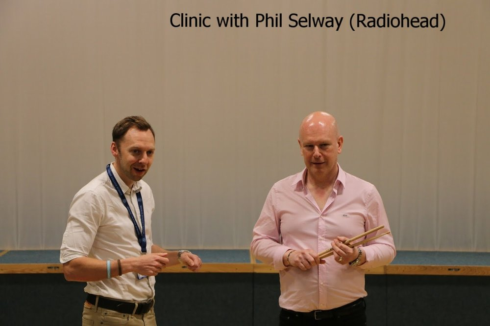 Leading a drumming clinic with Phil Selway (Radiohead) May 2018