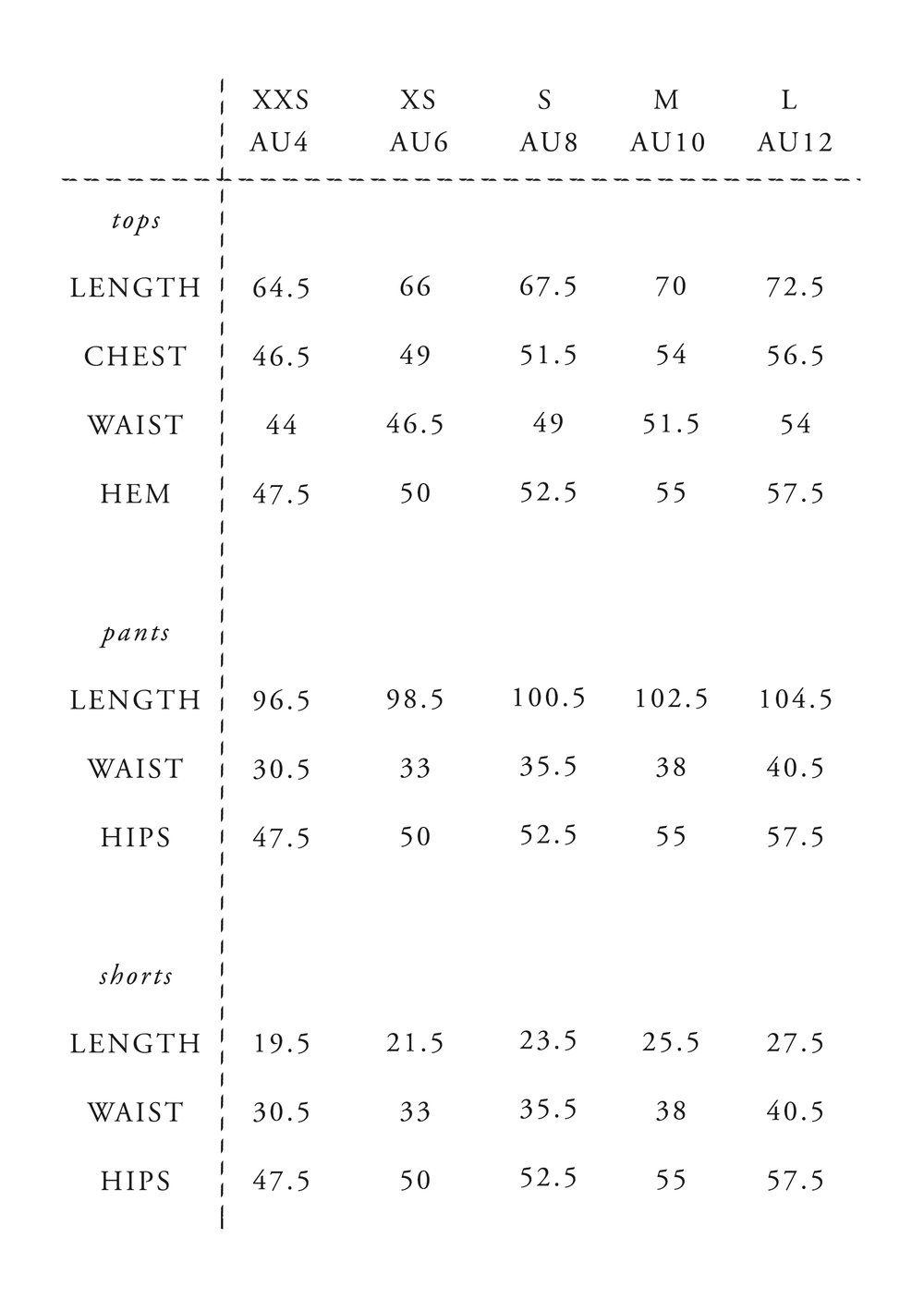 sizing notes - Measurements are in cm.Please use our size guide as a guide only.Our pyjamas have a relaxed-fit, please size down if you prefer a fitted look. The fit is true to size otherwise.