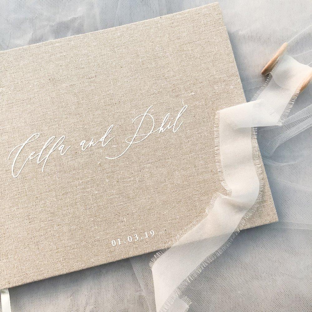 Linen Guest Book - two colour options