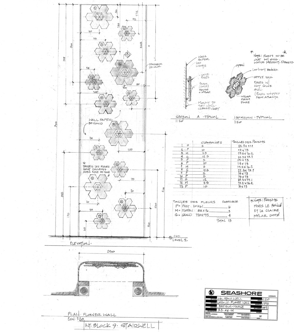 "Elevation and plan of ""Flower Wall"" in stairwell"
