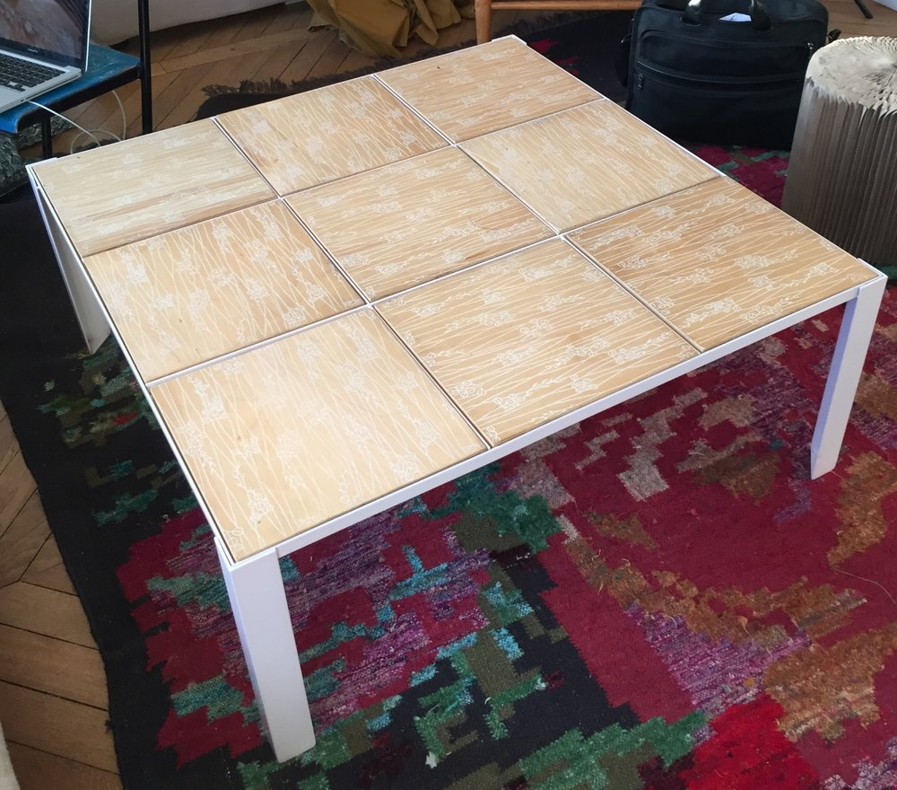 The Lulu Table with plywood tiles screen printed with a Japanese motif