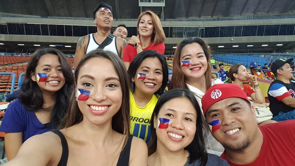 We may have been ridiculously outnumbered but I didn't see any Indonesian supporters wearing painted flags on their faces!!!