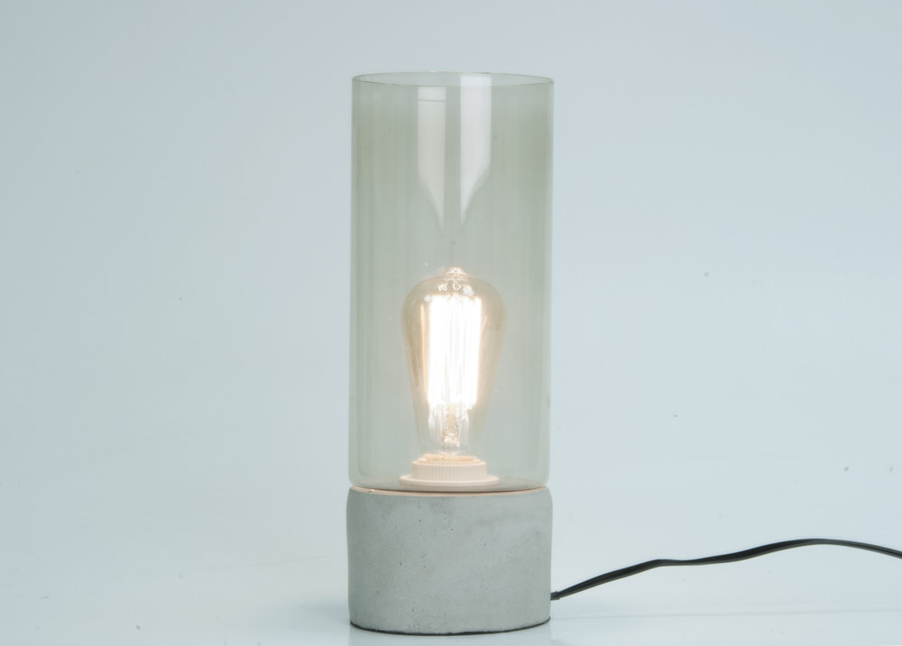 Leitmotiv Glass And Concrete Table Lamp