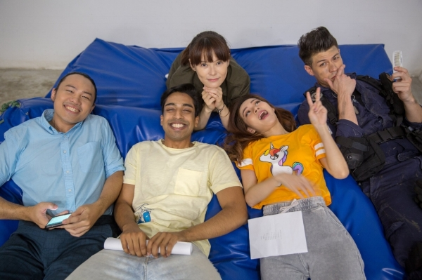 Aaron, Kishan, Jayley, Nicole and Alan taking a break from stunt training.