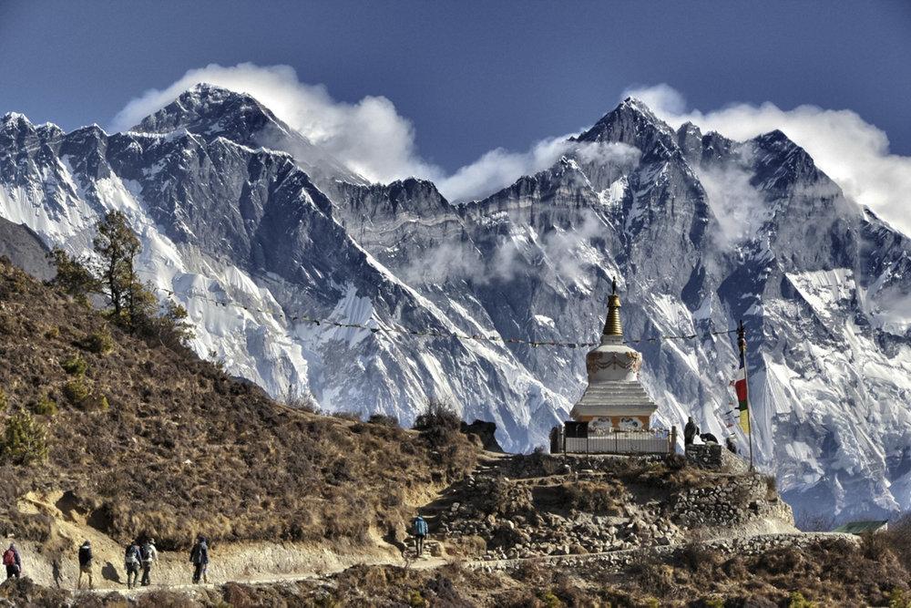 Nepal Kyangjuma Sagarmatha National Park Mt. Everest Shrine Trekkers-Tashi Sherpa 2013-71838 Lg RGB.jpg