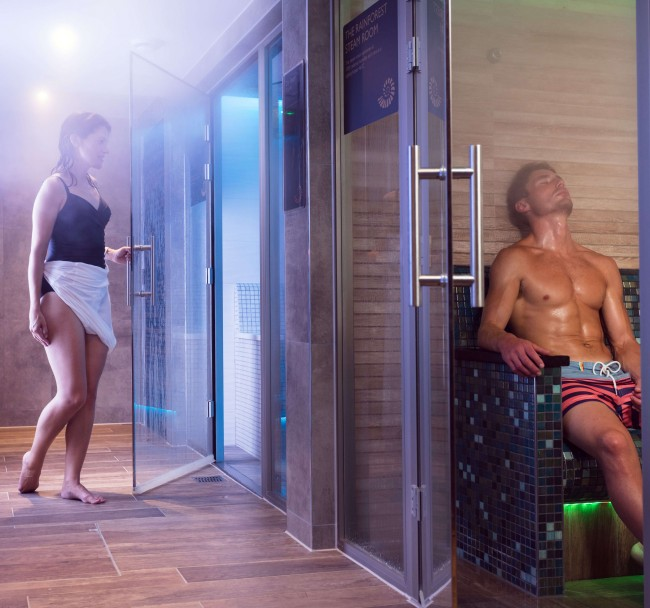 Sauna, Steam Room & Experience Showers - Let the Finnish herbal sauna cleanse your skin while increasing the oxygen and nutrients to your bodies organs.